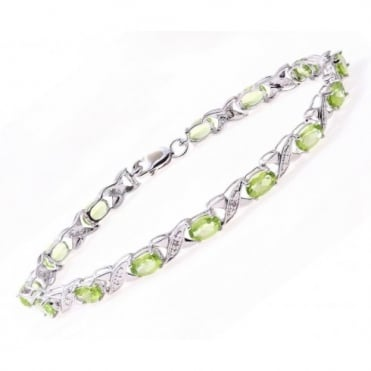 Sterling Silver Bracelet set with Peridot Gem Stone and Diamonds
