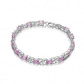 Sterling Silver Bracelet set with Sapphire Gem Stone and Diamonds