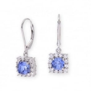Sterling Silver Earring set with Blue Sapphire Gem Stone and White Sapphires