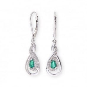 Sterling Silver Earring set with Emerald Gem Stone and Diamonds