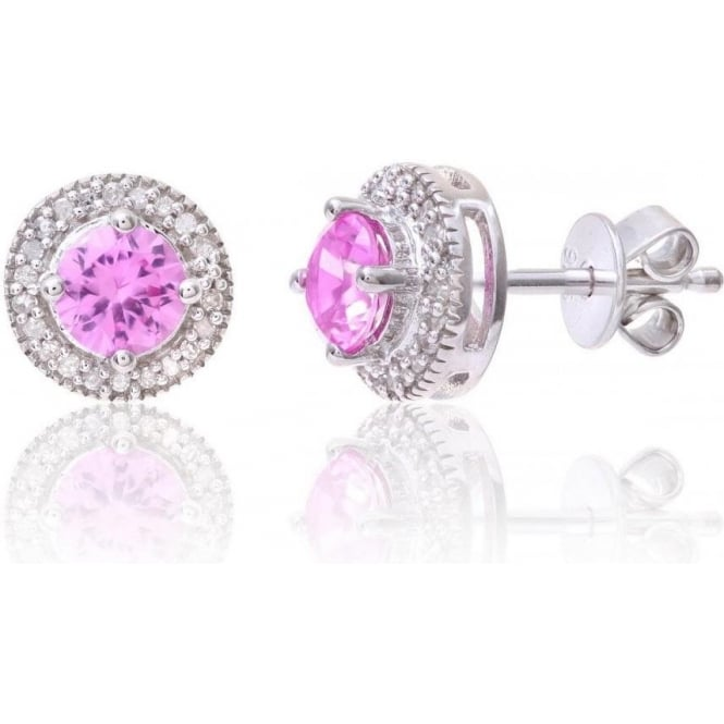 Star Wedding Rings Sterling Silver Earring Set with Pink Sapphire Gem Stone And Diamonds