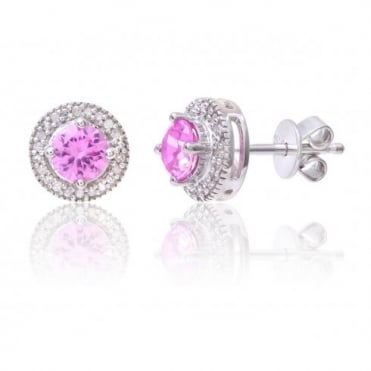Sterling Silver Earring Set with Pink Sapphire Gem Stone And Diamonds