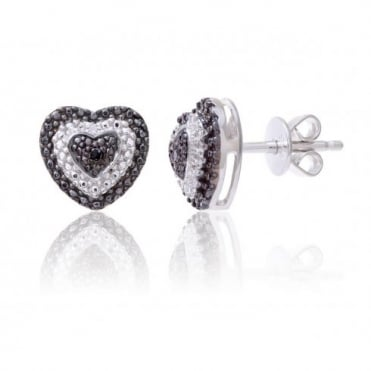 Sterling Silver Heart Earring set with Black and White Diamonds