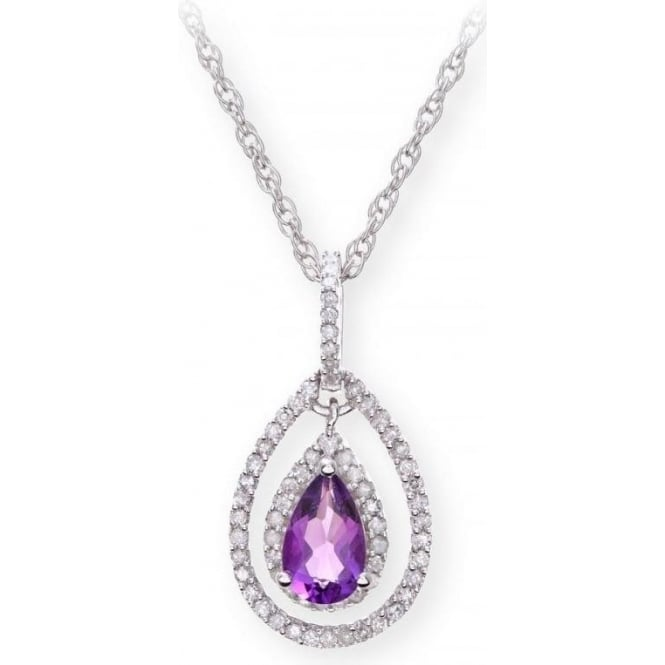 Star Wedding Rings Sterling Silver Necklace with Amethyst Gem Stone Pendant and Diamonds