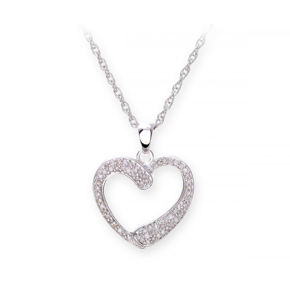 Sterling silver necklace with diamond set heart shape pendant star wedding rings sterling silver necklace with diamond set heart shape pendant mozeypictures Image collections