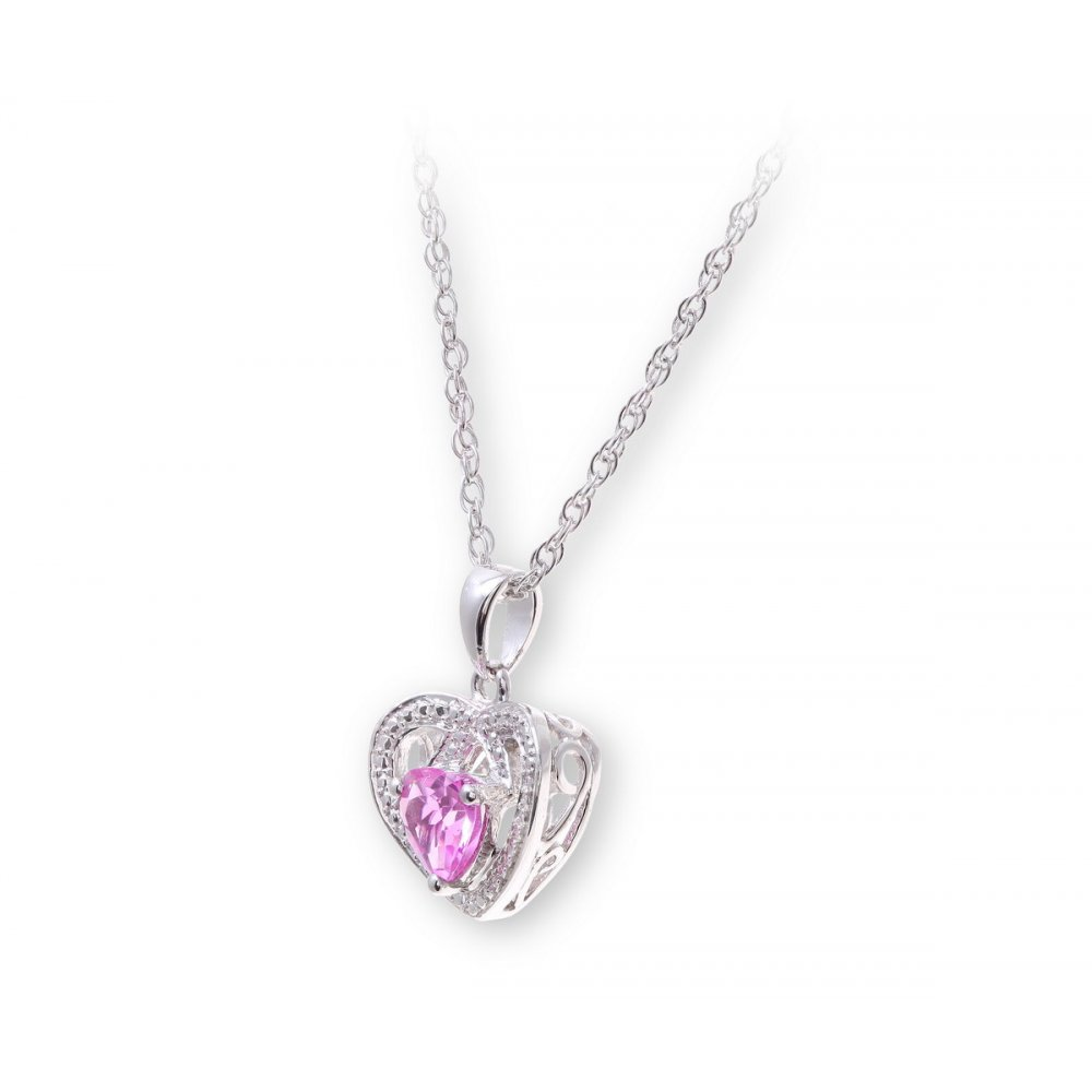Sterling silver necklace with pink sapphire gem stone heart star wedding rings sterling silver necklace with pink sapphire gem stone heart pendant and diamonds aloadofball Image collections