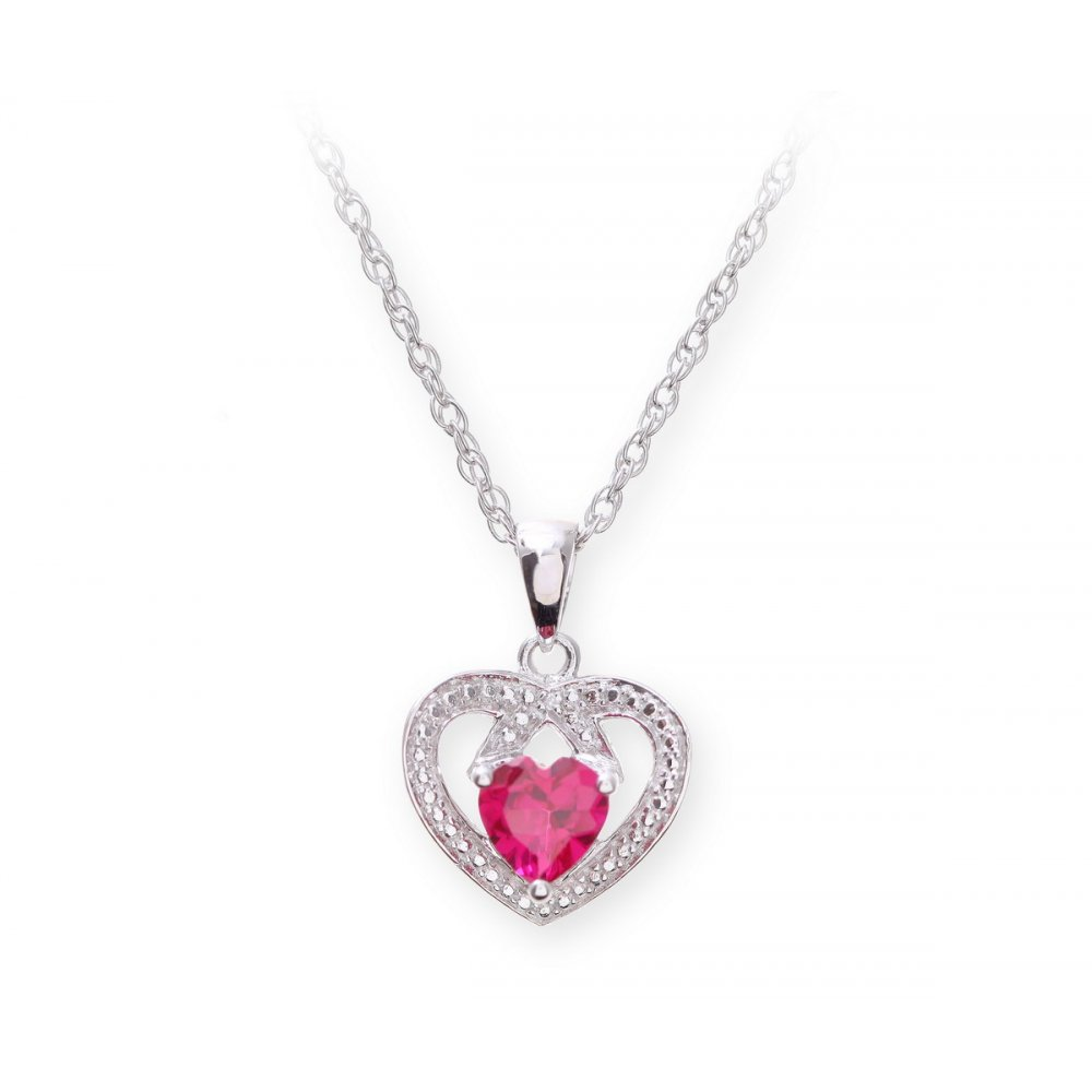 Sterling silver necklace with ruby gem stone heart pendant and diamonds aloadofball Image collections