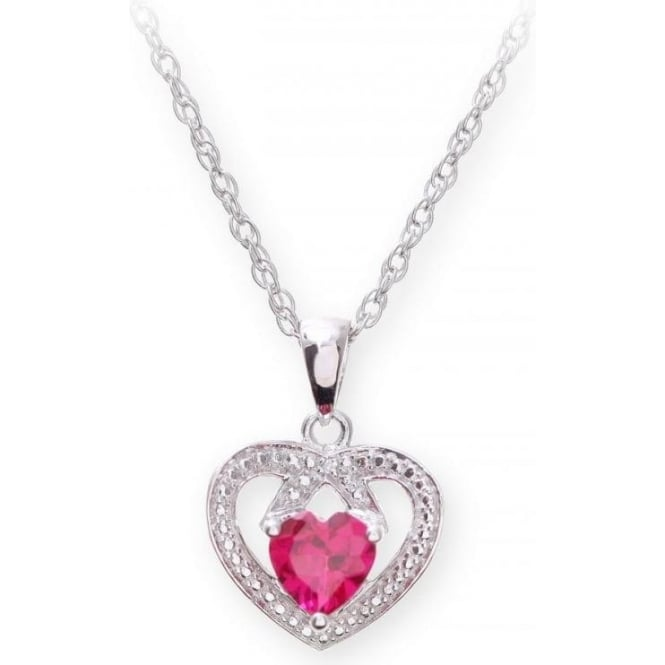 Star Wedding Rings Sterling Silver Necklace with Ruby Gem Stone Heart Pendant and Diamonds