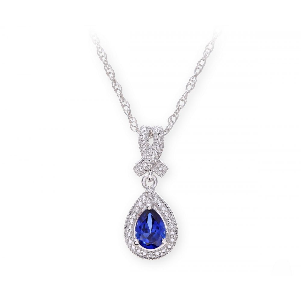 sterling silver necklace with sapphire gem stone pendant