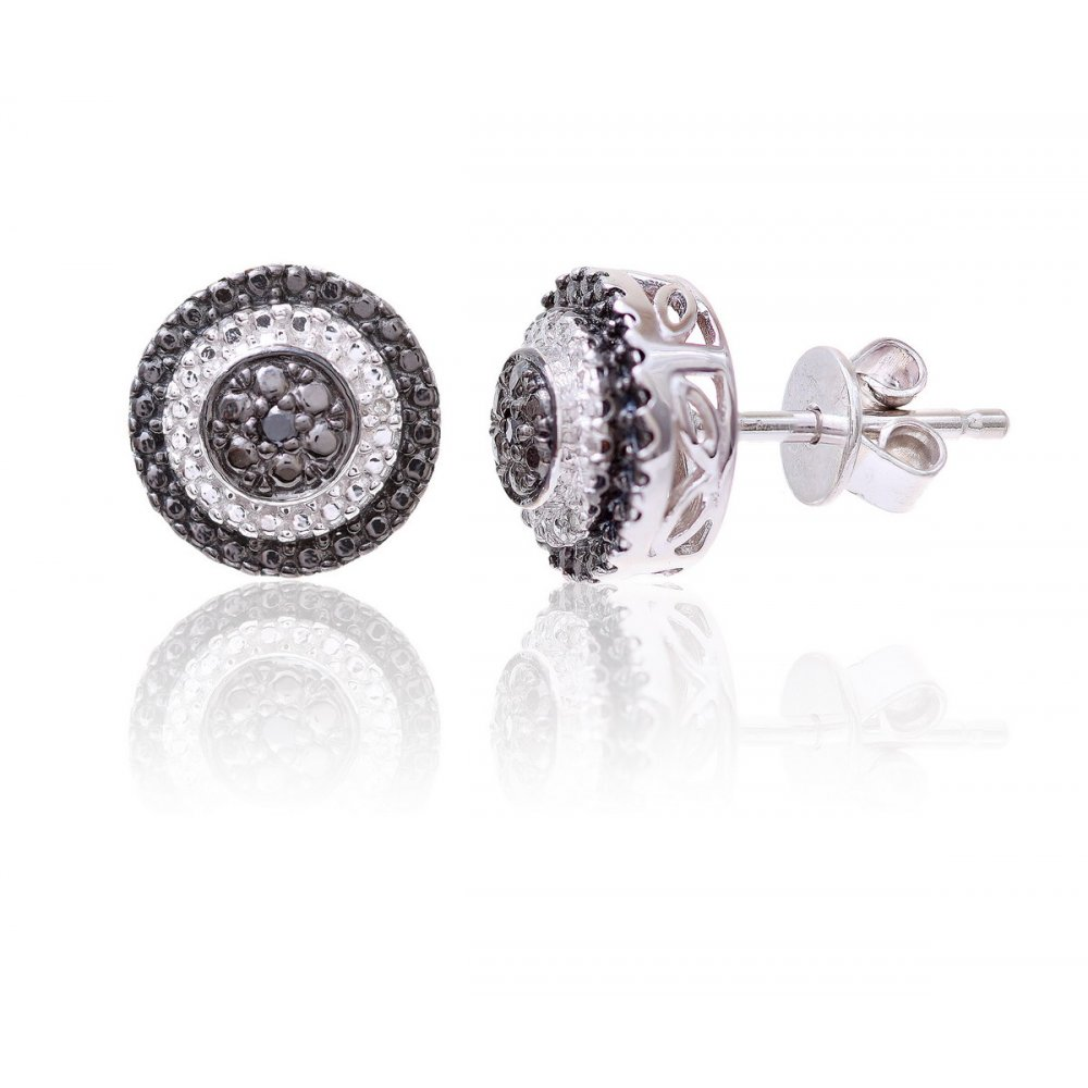 Sterling Silver Round Earring set with Black and White Diamonds