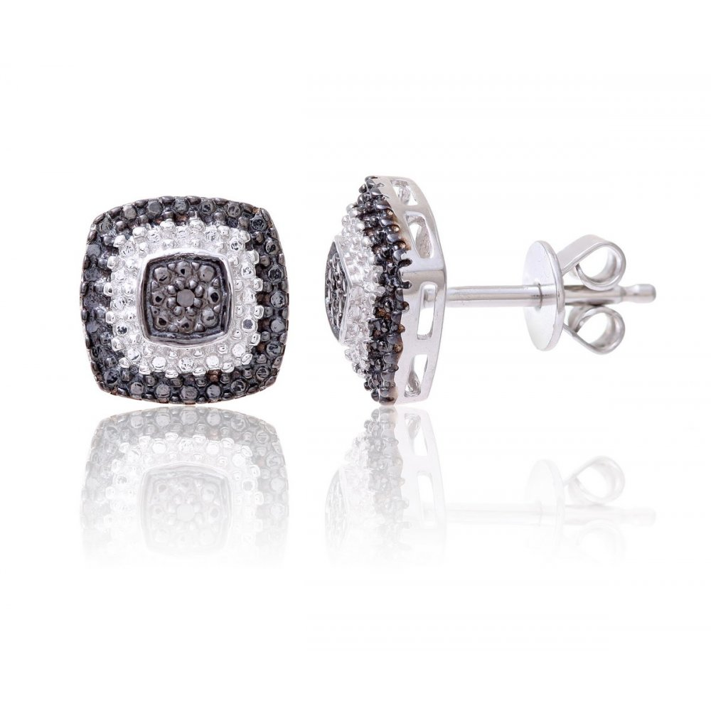 Sterling Silver Sqaure Earring set with Black and White Diamonds