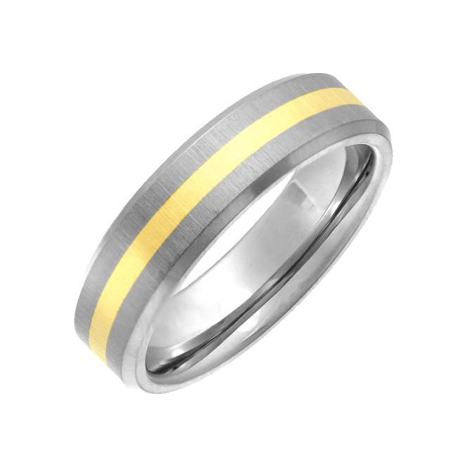 Star Wedding Rings Titanium and 9ct Yellow Gold Inlay Flat Court Shape Matt 6mm Ring