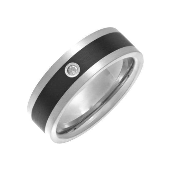 Star Wedding Rings Titanium and Enamel Inlay 0.05ct Diamond Matt 7mm Ring