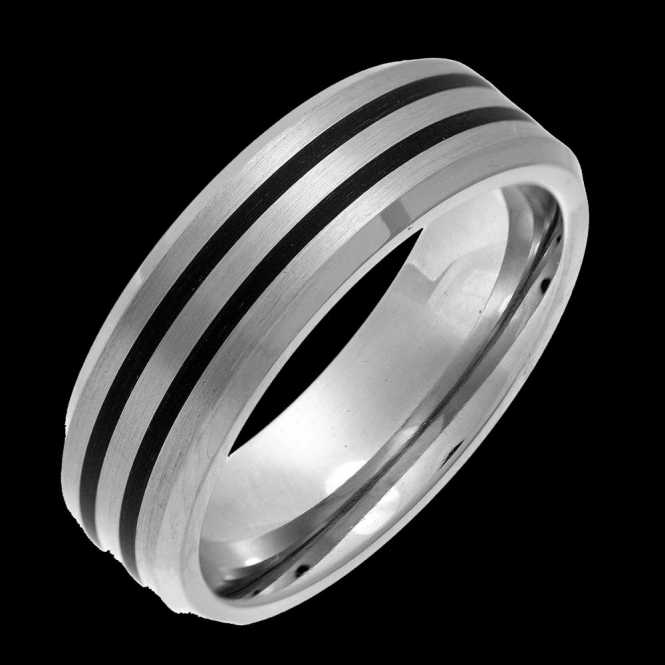 Star Wedding Rings Titanium and Enamel Inlay Flat Court Matt 7mm Ring