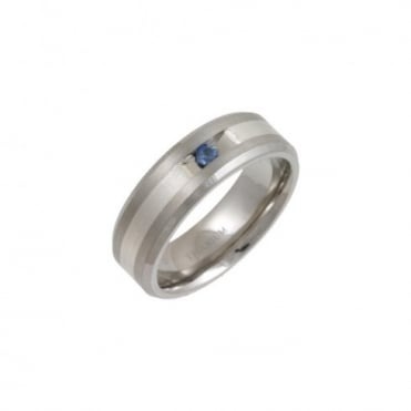 Titanium and Silver Inlay Flat Court Shape Blue Sapphire Matt 7mm Ring