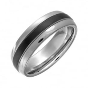 Titanium Court Shape Black Center 7mm Ring
