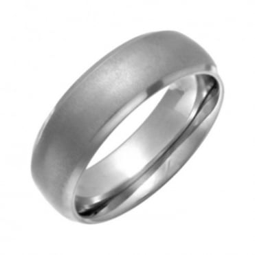 Titanium Court Shape Matt Center 7mm Ring