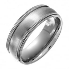 Titanium Court Shape Matt with Double Milgrain Edges 8mm Ring