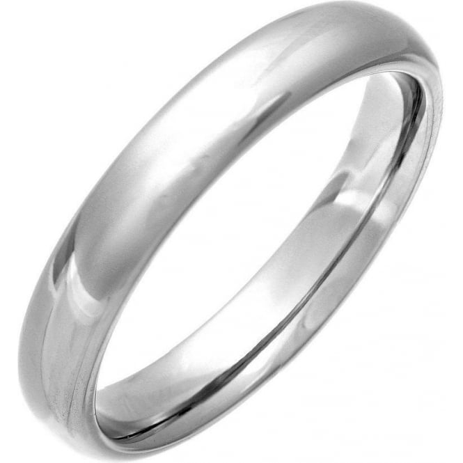 Star Wedding Rings Titanium Court Shape with a Polished Finish 4mm Wedding Ring