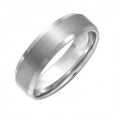 Titanium Flat Court Shape Center Matt with Bevel Edges 6mm Ring
