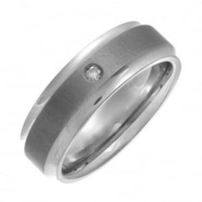 Titanium Flat Court Shape Matt Center 0.05kt Round Diamond 7mm Ring