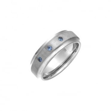 Titanium Flat Court Shape Matt Center 3 Round Blue Sapphires 7mm Ring