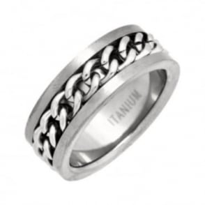Titanium Flat Court Shape Matt with Centered Chain 8mm Ring