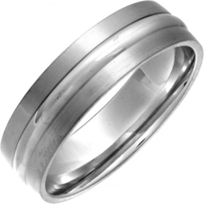 Star Wedding Rings Titanium Flat Court Shape Matt with Embossed Polished Centre 6mm Ring