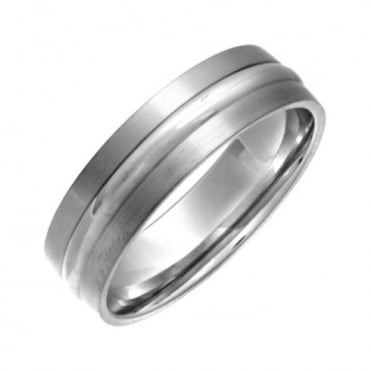 Titanium Flat Court Shape Matt with Embossed Polished Centre 6mm Ring
