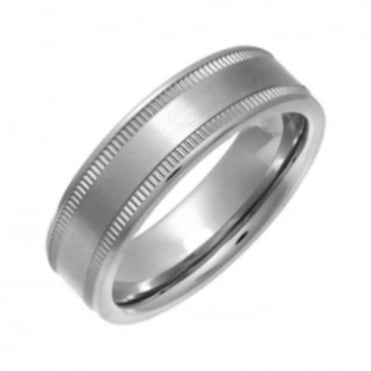Titanium Flat Court Shape Matt with Grained Edges 6mm Ring