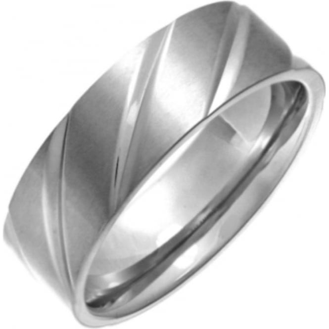 Star Wedding Rings Titanium Flat Court Shape Matt with Polished Diagonal Grooves 7mm Ring