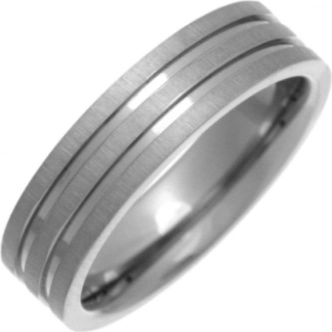 Star Wedding Rings Titanium Flat Court Shape Matt with Polished Grooves 6mm Ring
