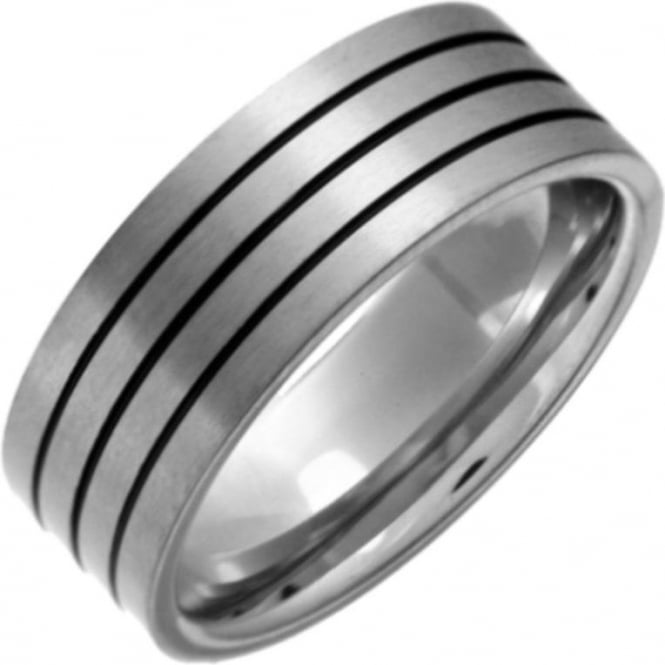 Star Wedding Rings Titanium Flat Court Shape Matt with Three Black Grooves 8mm Ring