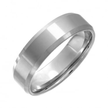 Titanium Flat Court Shape Polished Bevel Edges 6mm Ring