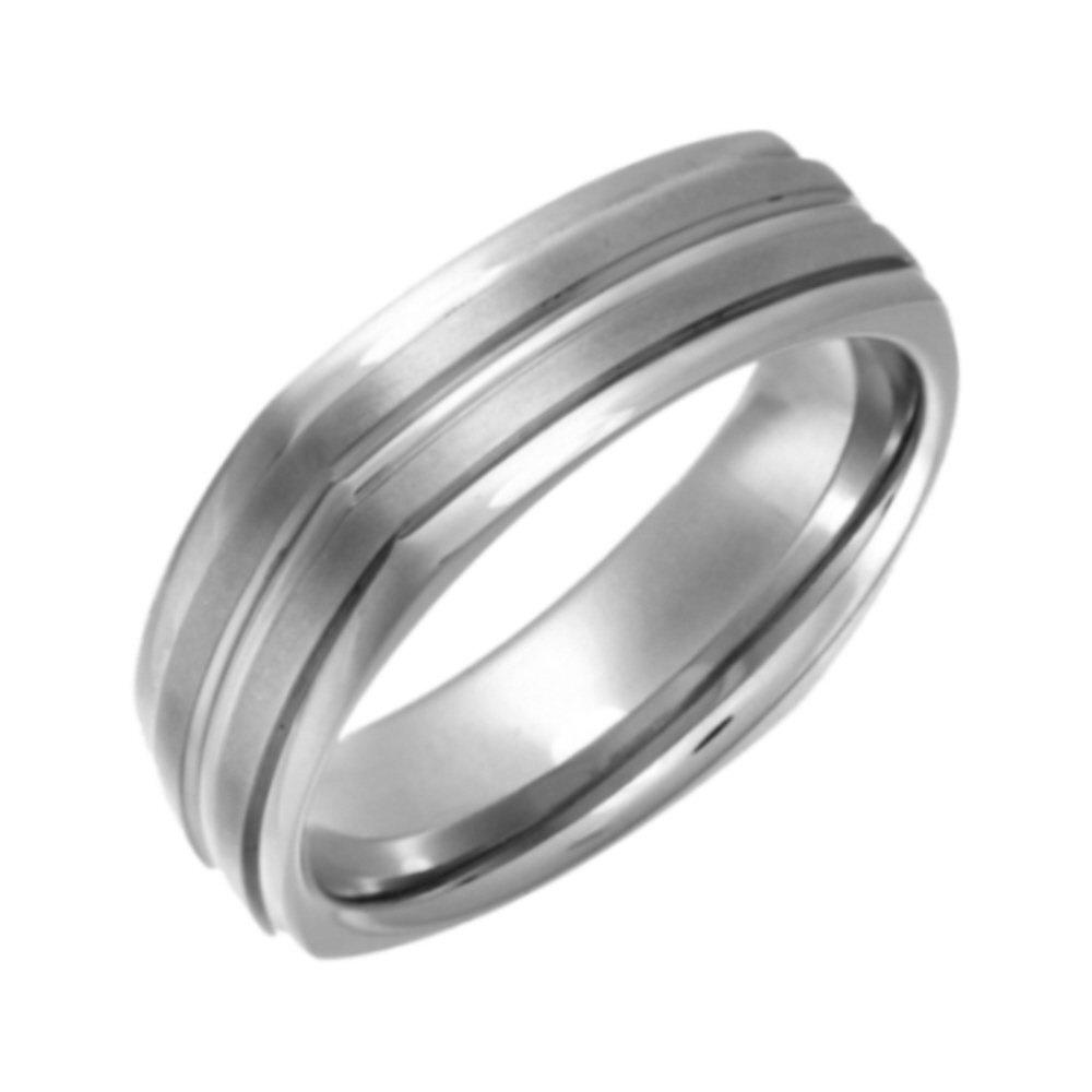 Titanium Flat Court Square Shape Matt And Grooved 7mm Ring