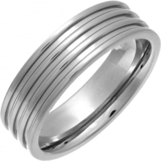 Star Wedding Rings Titanium Flat Court Shape Triple Groove 7mm Ring