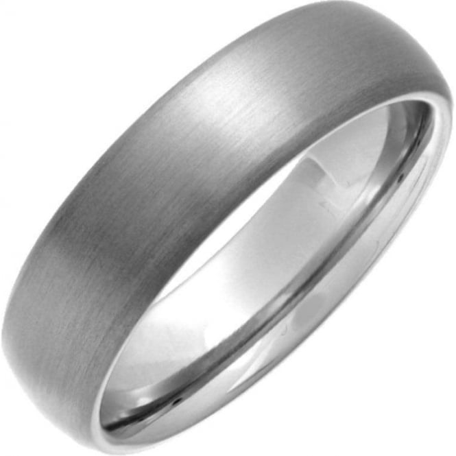 Star Wedding Rings Titanium Matt 6mm Court Shape Wedding Ring