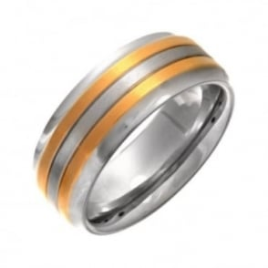 Titanium Matt Center with Two Gold Colour Lines 8mm Ring