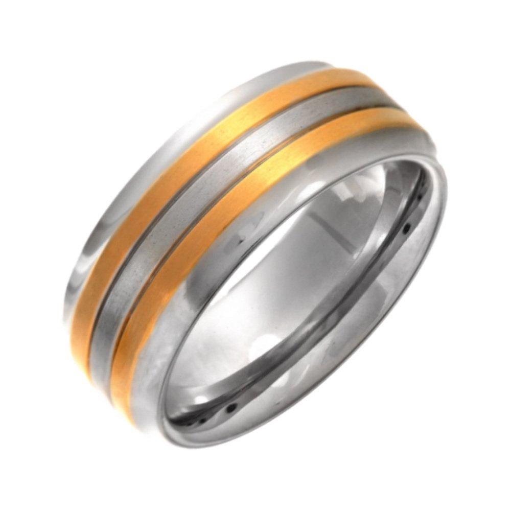 Titanium Flat Court Shape Matt Center With Two Gold Colour Lines 8mm Ring