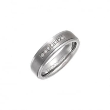 Titanium Matt Embossed Center 0.1ct Diamond 6mm Ring
