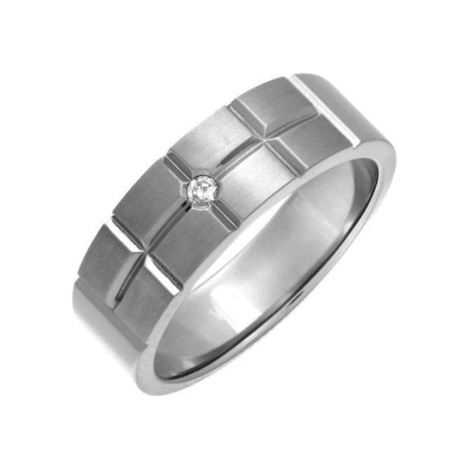 Star Wedding Rings Titanium Matt with Brick Like Grooves Diamond 7mm Ring