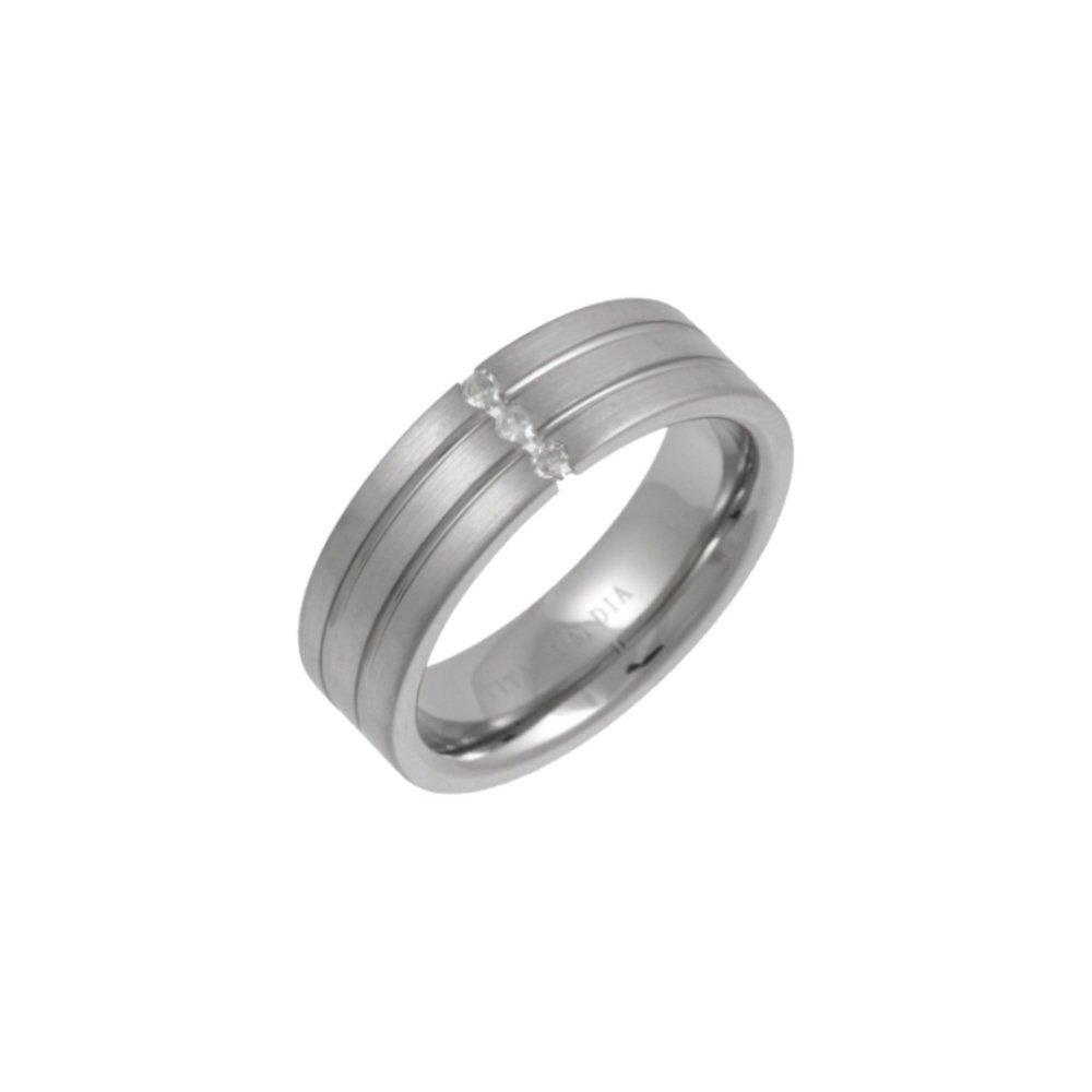 Titanium Flat Court Matt Center 005ct Round Diamond 7mm Ring