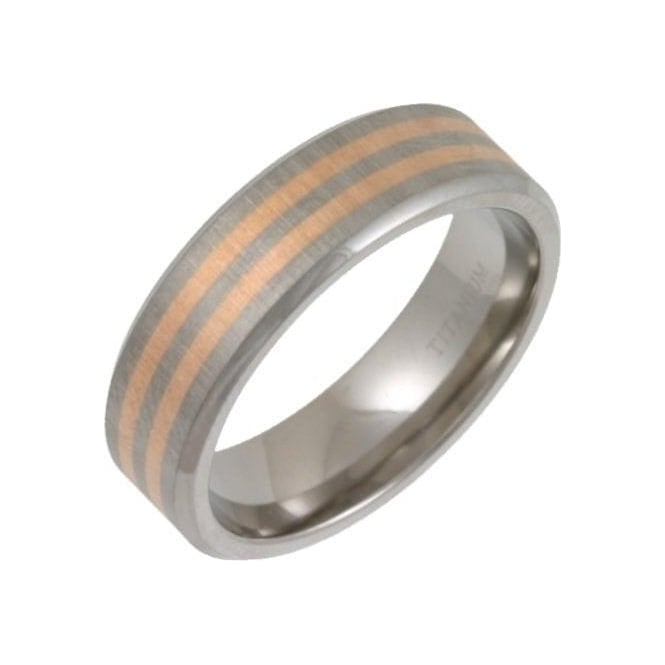 Star Wedding Rings Titanium Matt with Two 9ct Rose Gold Inlay 7mm Ring