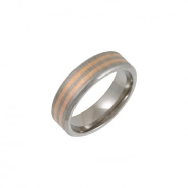 Titanium Matt with Two 9ct Rose Gold Inlay 7mm Ring
