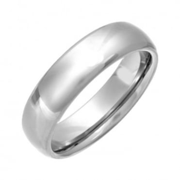 Titanium Polished 6mm Court Shape Wedding Ring
