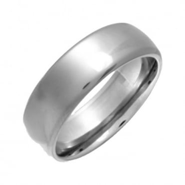 Titanium Polished 7mm Court Shape Wedding Ring