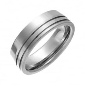 Titanium Polished Flat Court Shape with Double Side Groove 7mm Ring
