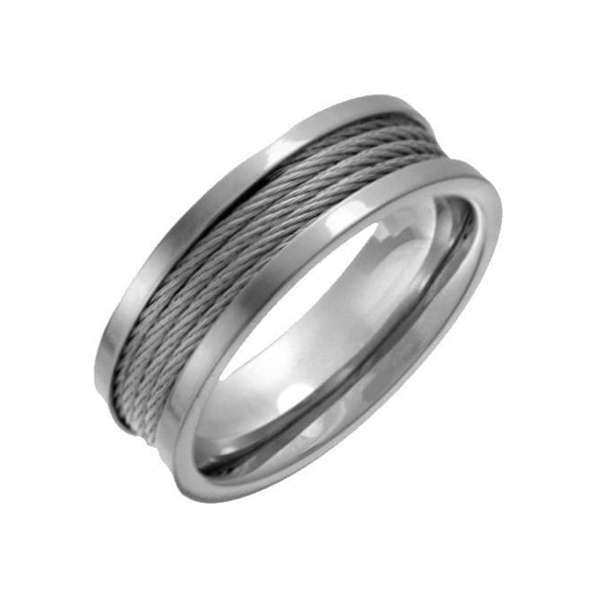 Star Wedding Rings Titanium with Grey Stainless Steel Wire 7mm Ring
