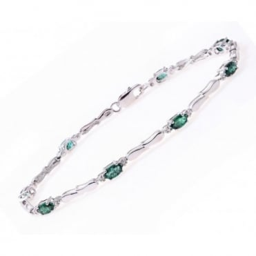 Sterling Silver Bracelet set with Emerald Gem Stone and Diamonds
