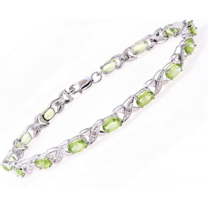 Star Wedding Rings Sterling Silver Bracelet set with Peridot Gem Stone and Diamonds